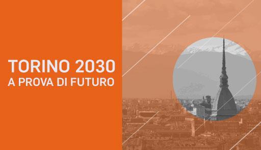 Veduta di Torino con Mole su sfondo arancione