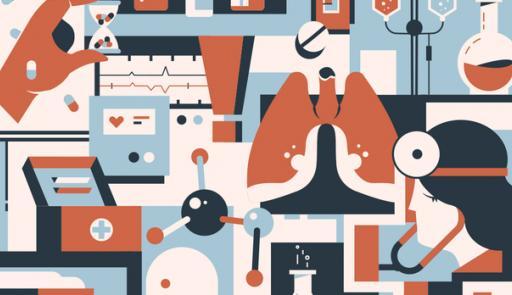 Vari strumenti di medicina inseriti in una grafica colorata