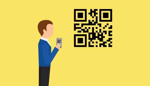 Figura stilizzata che inquadra un qr code con lo smartphone
