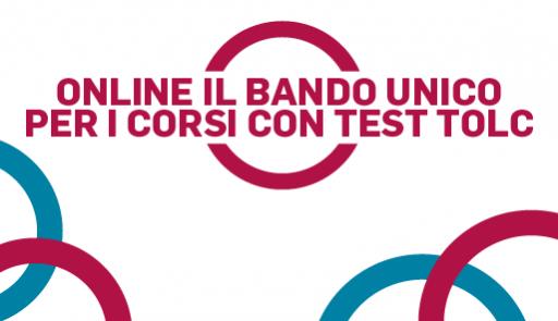 Cerchi rosa e blu con scritta ONLINE IL BANDO UNICO PER I CORSI CON TEST TOLC