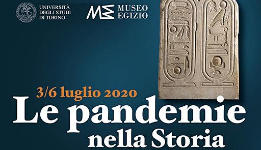 Stele egizia con scritta Le Pandemie nella storia
