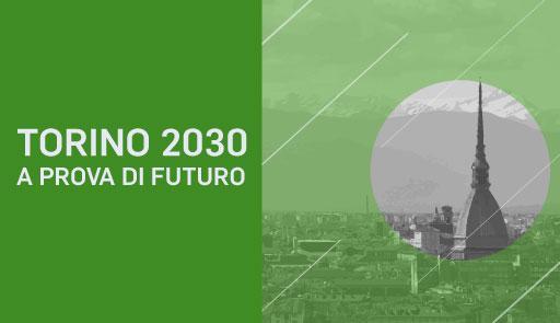 Veduta di Torino con Mole su sfondo verde