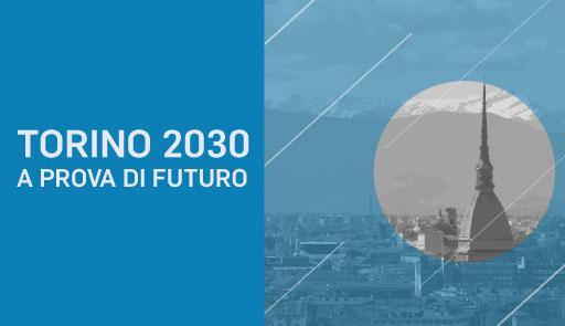 Veduta di Torino con Mole su sfondo blu