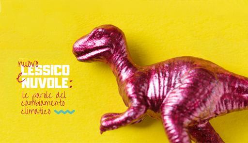 Il dinosauro rosa su sfondo giallo della copertina