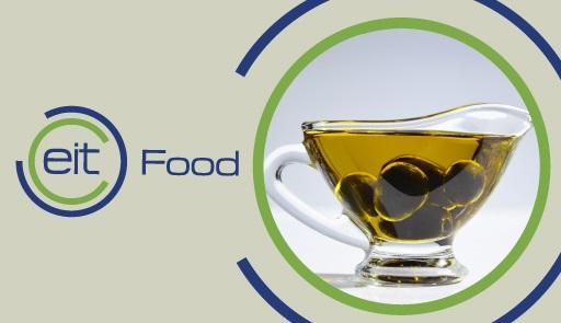 Immagine grafica con una tazza che contiene del liquido per la promozione di un corso online per il progetto eit food