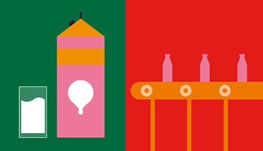 Immagine disegnata di un cartone del latte su sfondo verde e bottiglie di latte su sfondo rosso
