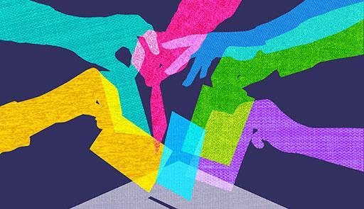 Mani virtuali colorate che inseriscono una scheda in una urna elettorale