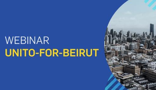 titolo dell'evento, sullo sfondo colorato, una veduta dall'alto della città di Beirut