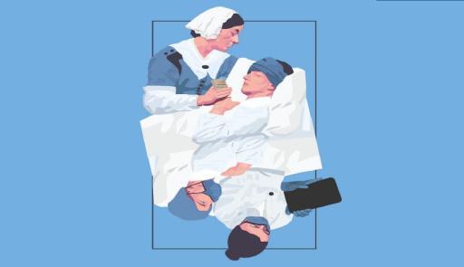 raffigurazione di un'infermiera ed un malato, nel passato e nel presente (durante la pandemia)