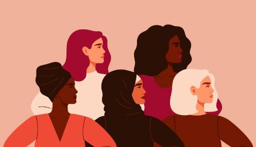 Grafica gruppo di donne di culture diverse