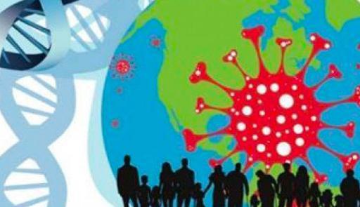 figura stilizzata del mondo con segmento di DNA e sagome di persone