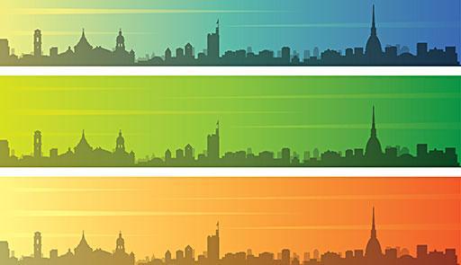 Outline della città di Torino riprodotto su tre bande orizzontali colorate