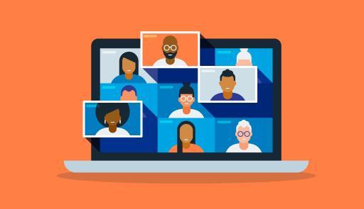 Immagine grafica con computer e studenti in videoconferenza
