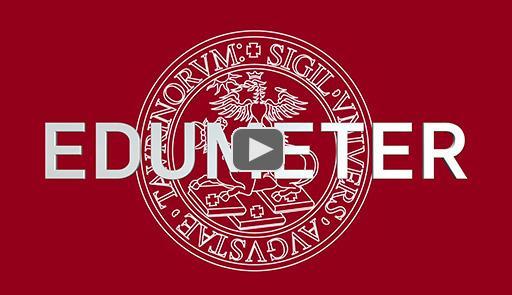 Logo dell'Università di Torino su sfondo rosso con scritta Edumeter al centro