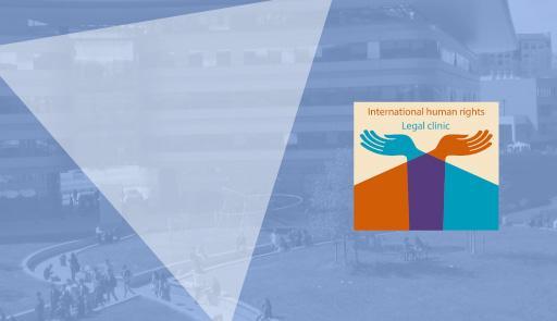 Sfondo della locandina con immagine del CLE e logo della Human Rights Legal Clinic