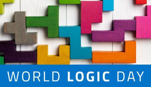 pezzi di puzzle colorati e scritta: World Logic Day