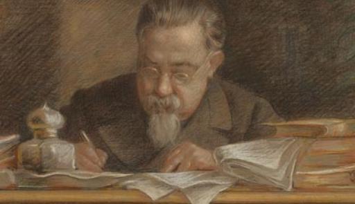 Immagine di Cesare Lombroso alla sua scrivania