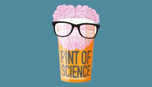 In grafica una pinta di birra con gli occhiali da sole e un cervello al posto della schiuma