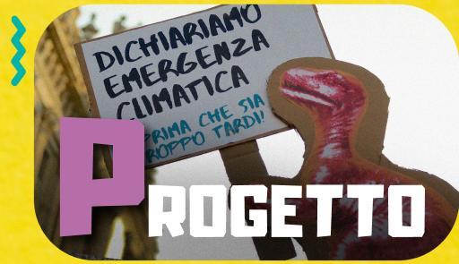 """Il dinosauro rosa tiene un cartello """"Dichiariamo emergenza climatica"""""""