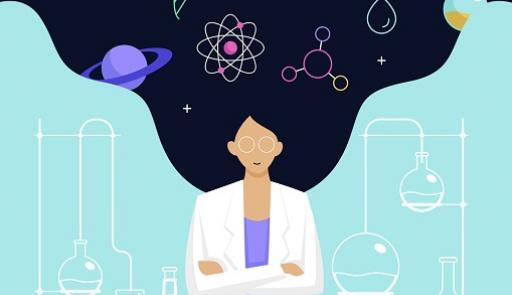 Grafica di una donna con capelli e simboli scientifici che volano