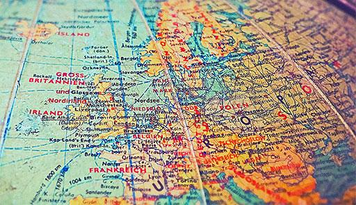 Porzione di una cartina dell'Europa