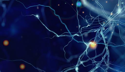 Collegamenti neuronali su sfondo blu