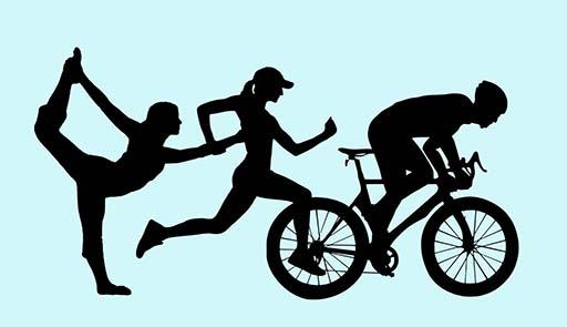 tre figure di sportivi: una donna che danza, un donna che corre, un uomo in bicicletta