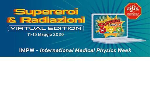 Immagine decorativa della mostra con scritta Supereroi e radiazioni