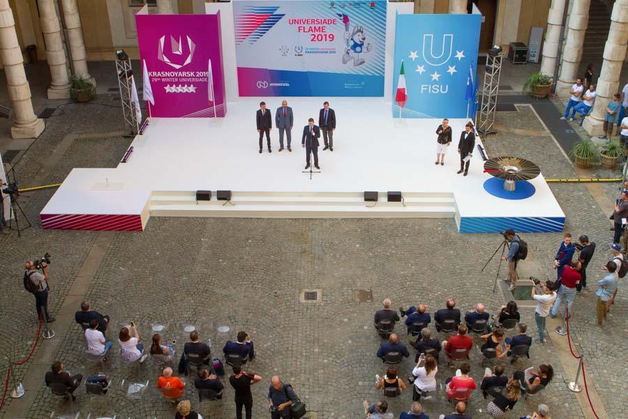 Cerimonia ufficiale di accensione della Fiaccola del Sapere della 29esima Universiade Invernale