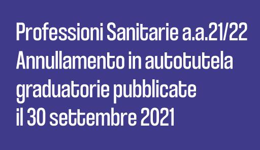 grafica immatricolazioni - Professioni Sanitarie a.a. 2021/2022 - Annullamento in autotutela delle graduatorie pubblicate in data 30 settembre 2021