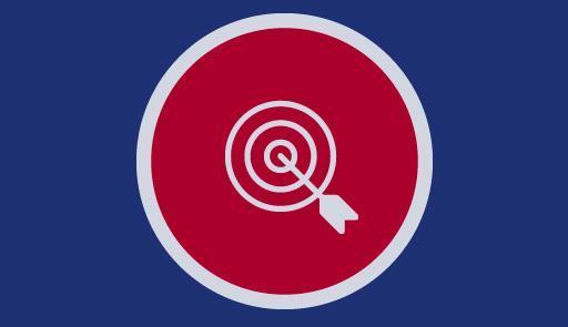 icona del bersaglio su sfondo blu