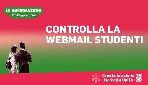 Grafica della campagna immatricolazioni 2019-2020 con scritta CONTROLLA LA WEBMAIL STUDENTI