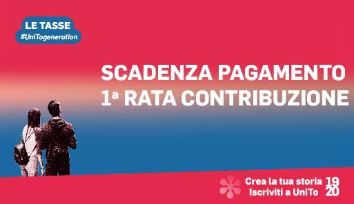 Grafica della campagna immatricolazioni 19-20 con scritta PAGAMENTO PRIMA RATA CONTRIBUZIONE STUDENTESCA