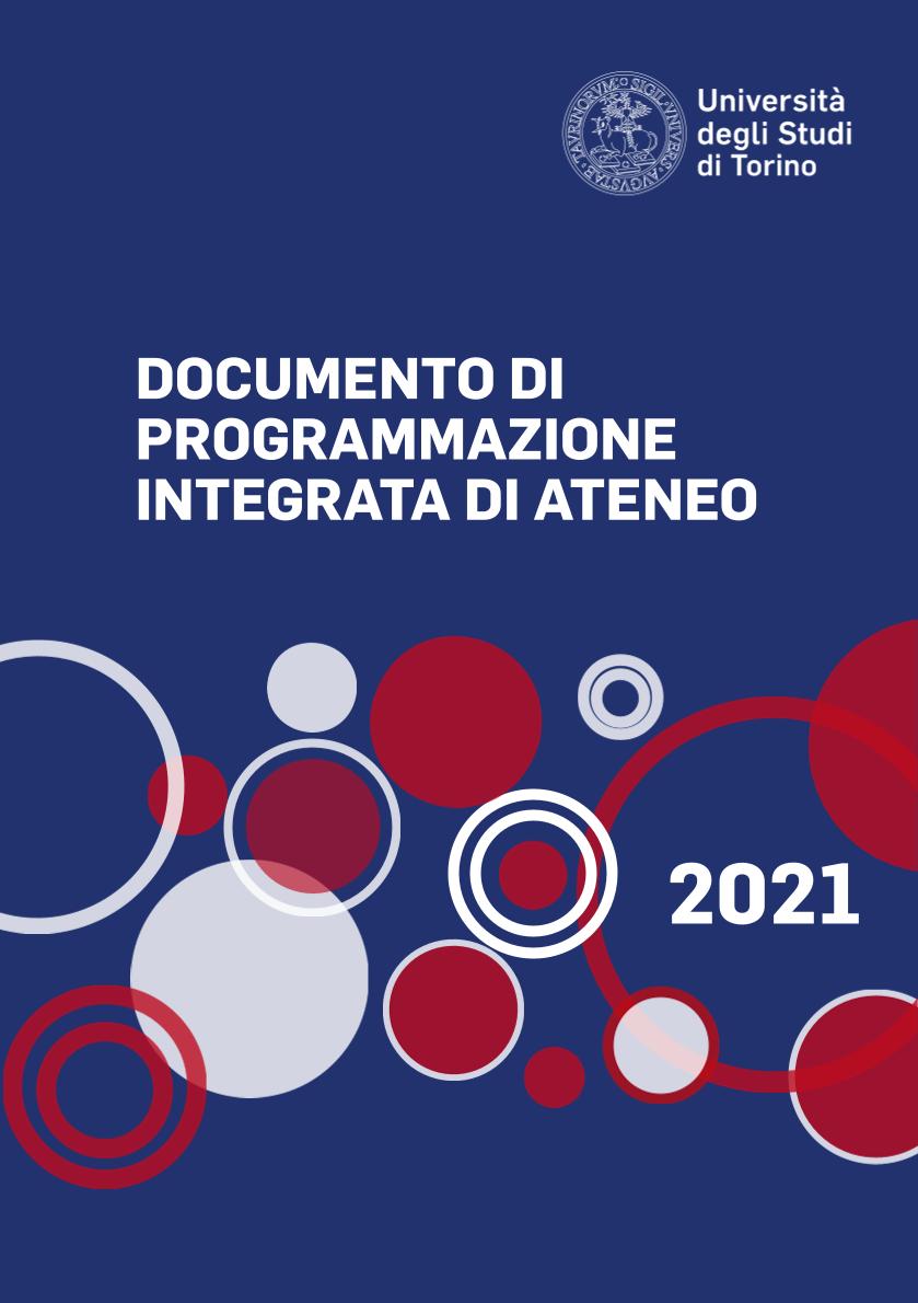 Copertina del documento di programmazione di colore blu con cerchi rossi