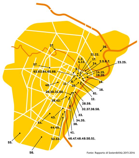 Mappa elenco sedi territoriali