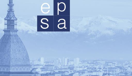 Veduta di Torino con logo EPSA su sfondo azzurro