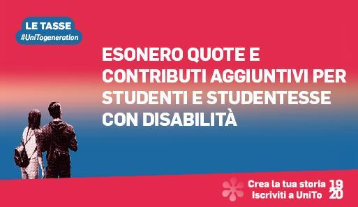 Grafica della campagna immatricolazioni 19-20 con scritta ESONERO PER STUDENTI CON DISABILITà