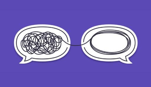 Due nuvolette dei fumetti, una con una matassa imbrogliata, l'altra con una rappresentazione dei filo lineare