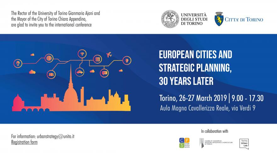 "Invito ""European Cities and Strategic Planning, 30 years later"""