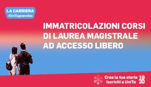 Grafica della campagna immatricolazioni 19-20 con scritta IMMATRICOLAZIONI LAUREE MAGISTRALI AD ACCESSO LIBERO