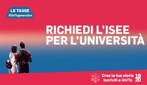 Grafica della campagna immatricolazioni 19-20 con scritta RICHIEDI ISEE PER UNIVERSITA
