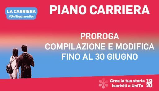 Grafica della campagna immatricolazioni 19-20 con scritta PROROGA COMPILAZIONE E MODIFICA DEL PIANO CARRIERA