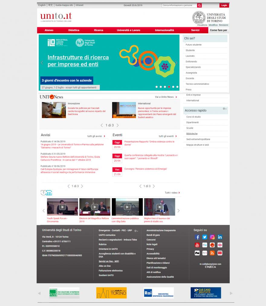 Home page del Portale 2018