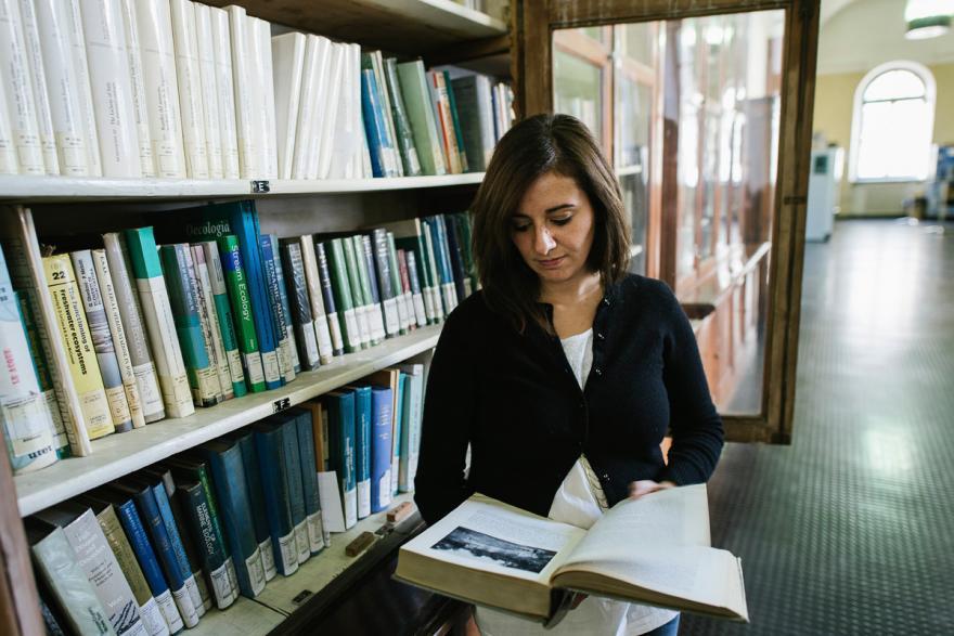 Dottorando che legge in biblioteca