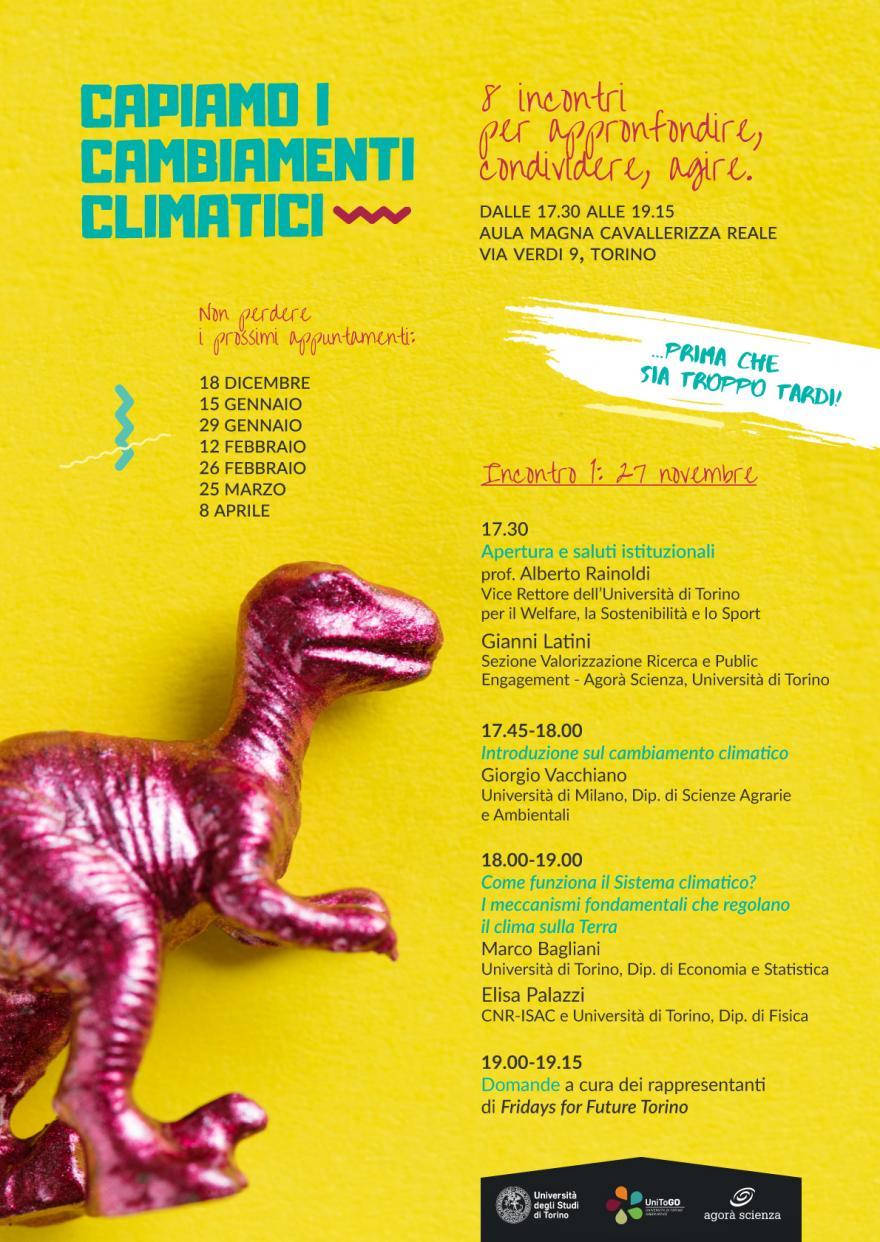 """Locandina con programma del primo incontro del ciclo """"Capiamo i cambiamenti climatica"""". Immagine di un dinosauro fucsia su sfondo giallo"""