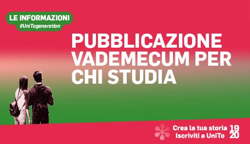 Grafica della campagna immatricolazioni 19-20 con scritta PUBBLICAZIONE VADEMECUM PER CHI STUDIA