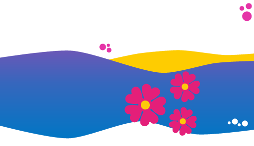Tre fiori rosa su sfondo a forma di onda di colore azzurro