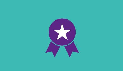 Una coccarda blu con una stella al centro su sfondo azzurro