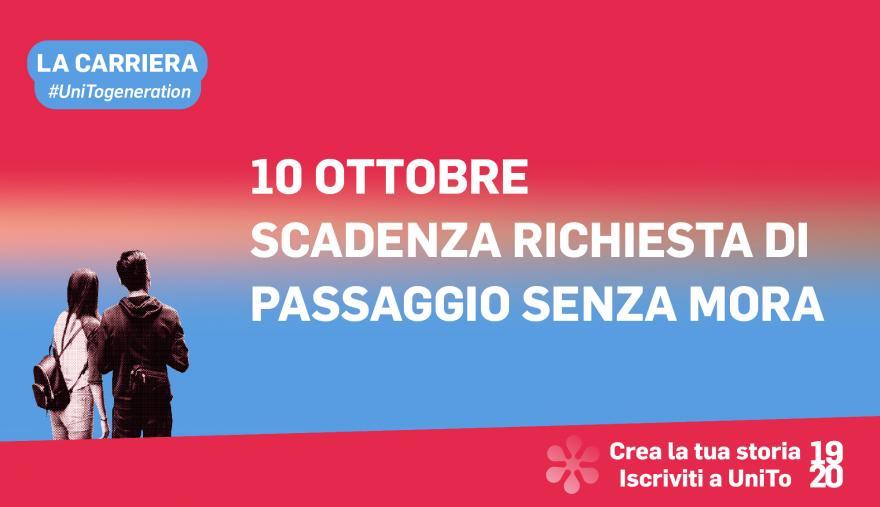 Grafica della campagna immatricolazioni 19-20 con scritta 10 OTTOBRE SCADENZA RICHIESTA DI PASSAGGIO