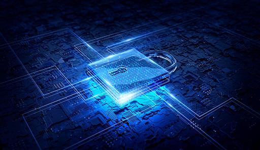 Icona grafica con un lucchetto e scheda elettronica che simboleggia la sicurezza informatica